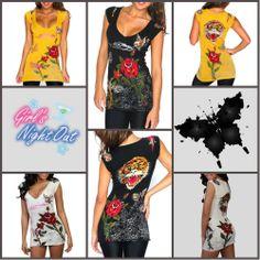 Ed Hardy Sexy Open Rose V-neck Short Sleeve T-shirt Biker Tee Top Women S/M/L/XL
