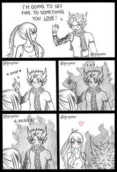 Voy a incendiar algo que amas. *chasquido* ¿D-De verdad? NaLu Natsu Lucy Fairy Tail
