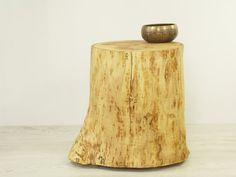 wood stump stool side table of clone trunk by freetreestudio baumstamm tisch hocker holz