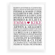 CUADRO PAREJAS FAMOSAS: Un regalo genial para bodas y aniversarios. Marco Antonio & Cleopatra, Arwen & Aragorn, Superman & Lois Lane... entre otros. Parejas famosas que han llenado páginas de libros de historia o ficción, comics, o que nos han acompañado a través de la pantalla. Ahora tus nombres podrán estar entre ellos en este original cuadro.  Un regalo especial para hacer a tu pareja; un obsequio encantador para bodas y aniversarios.  #decoracion #decohome #decolovers #originalgift