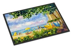 Beach Resort view from the condo Indoor or Outdoor Mat 18x27 Doormat