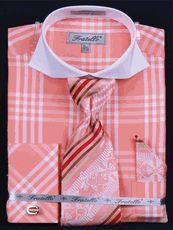 Fratello Mens Big and Tall Checker Spread Collar Tie Set FRV4118P2 - click to enlarge