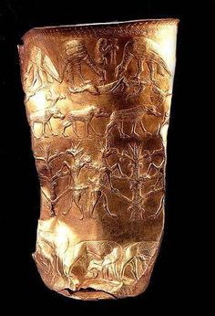 "The Stunning Marlik-cup, known as the ""Life cup"" made of pure gold, circa 1000 BC., this magnificent piece of art tells the Life Story of a Goat, from birth (bottom row) , to growth and then death.. and finally it shows the vultures feeding on the dead body of the goat (bottom row) ........  جام زرین بیهمتای مارلیک که در چهار ردیف نقش برجسته داستان تولد (ردیف پایین)، رشد ناتوانی و مرگ تا خوراک کرکسها شدن یک بز کوهی را روایت میکند"