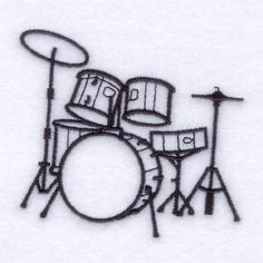 Drum Set Outline Embroidery Designs, Machine Embroidery Designs at Emb… Drum Drawing, Wall Drawing, Machine Embroidery Designs, Embroidery Patterns, Hand Embroidery, Trommel Tattoo, Drums Artwork, Drum Lessons For Kids, Drum Tattoo