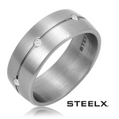 $14.99 - Steelx Stainless Steel Brushed Finish Surrounded by Six Swarovski Crystals Men's Ring