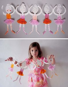 Make Ballerina Paper Doll Chain! Paper Doll Chain, Paper Chains, Paper Dolls, Fabric Dolls, Arts And Crafts Projects, Crafts To Do, Crafts For Kids, Dance Crafts, Ballet Crafts
