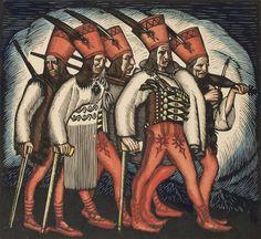 """Władysław Skoczylas, """"Pochód zbójników"""" (z """"Teki zbójnickiej""""), 1919-1920, drzeworyt kolorowany, 28,5 x 31 cm, wł. Muzeum Narodowe w Warszawie, fot. MNW"""