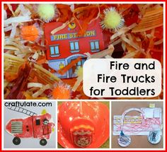 Fire and Fire Trucks for Toddlers - art, crafts, sensory bin and a fire station visit!