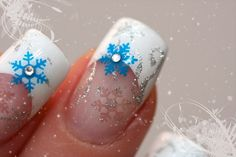 Christmas & winter nails: white french manicure with silver and blue snowflake nail art and rhinestones ♡ - Winter Nail Art Christmas Nail Art Designs, Holiday Nail Art, Winter Nail Art, Winter Nails, Christmas Nails, Winter Christmas, Winter Snow, Christmas Glitter, Christmas Design