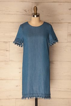 Hatzenberg #Boutique1861 /  Denim Tunic Dress. With this denim shift dress with fun tassels, you'll be ready for any occasion!  Pair it with white sneakers or your favourite wedges, you'll be ready no matter the event!