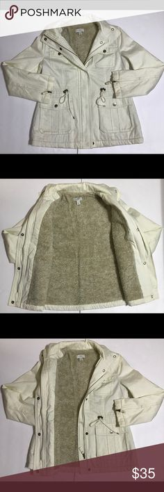 d6f502f733d6 💯ANNE TAYLOR LOFT Cream Heavy Sherpa Jacket Pre-owned! Mint Condition! Anne