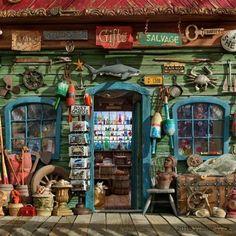 Fabulous used everything store Me encanta esta fachada de una tienda de segunda mano, cuya idea es darle vida a la misma para atraer a todo el que pase cerca de la tienda.