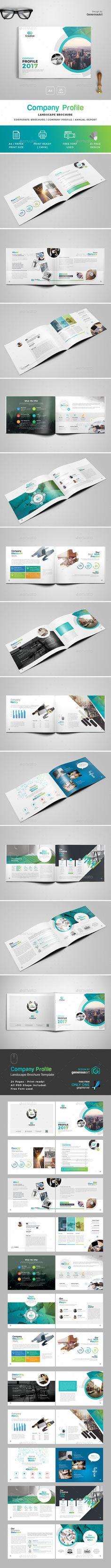 Company Profile Landscape Brochure Template PSD