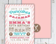 Pancakes and Pajamas Birthday Party Invitation