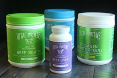 A review of Vital Proteins Grass Fed Collagen Products including collagen beauty greens, collagen peptides, beef gelatin, and beef liver capsules.