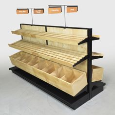 Collated by Eugene Wisotow. Bakery and Bread Display, Wood Slat Gondola Shelving Kit x L Bakery Display Case, Bread Display, Pastry Display, Wood Display, Display Shelves, Display Cases, Display Ideas, Bakery Shop Design, Design Shop