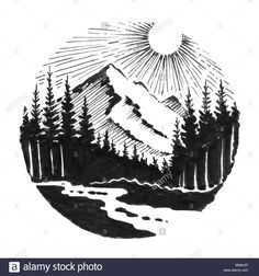 Mountain peak and Alpine woods with river. Ink black and white drawing Stock Photo , Mountain Illustration, Pen Illustration, Ink Illustrations, Landscape Tattoo, Landscape Drawings, Art Drawings, River Drawing, Circle Drawing, Mountain Sketch