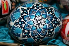 Beautiful blue Ukrainian egg- similar to the one I did!