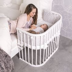 BabyBay Bedside sleeper - bassinet - organic - white - with mattress Baby Room Furniture, Baby Room Decor, Portable Baby Bed, Baby Night Light, Baby Room Design, Baby Bedroom, Baby Cribs, Baby Beds, Kids And Parenting