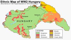 Ethnic map of Hungary in 1941 × Hungary History, Ww2 History, European History, Old World Maps, Old Maps, Vintage Maps, Antique Maps, Historical Maps, Historical Pictures