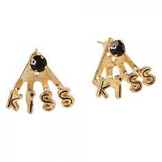 Rhinestone English Kiss Stud Earrings Black (NO FREE SHIPPING)