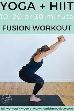 strengthen and lengthen while increasing power and endurance with this metabolic boosting calorie-burning yoga hiit fusion workout you can do in 10 20 or 30 minutes! Yoga Pilates, Pilates Reformer, Pilates Workout, Yoga Abs, Leg Workouts, Tabata, Butt Workout, Videos Yoga, Workout Videos
