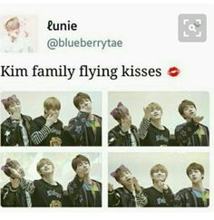 This is basically eomma Seokjin, appa Namjoon and their kid Taehyung giving us flying kisses!