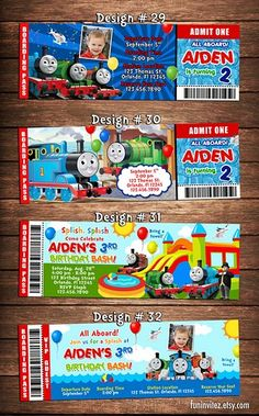 Party Ticket Invitations Thomas The Tank And Friends Birthday Party Photo Ticket Invitations .