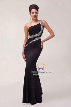 uzun abiye elbise siyah