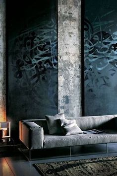 Contemporary Living Room with Islamic Calligraphy Canvas Art, High ceiling, Interior concrete wall, Bobby Berk Home Lacy Sofa