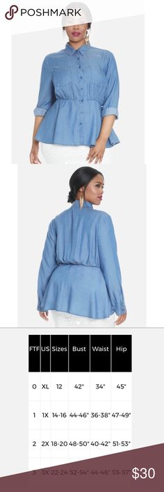 Denim peplum shirt HOST PICK shirt-style collar and button-up detail, long sleeves, a peplum cut, and two front pockets. Pair it with a pencil skirt or jeans. Too big for me I have attached fashion to figures size chart for reference. Fashion to Figure Tops Blouses