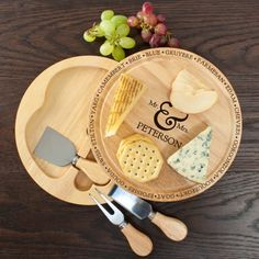 A lovely kitchen gift for a happy couple. Personalised Connoisseur Mr and Mrs Cheese Board Set - yourgifthouse