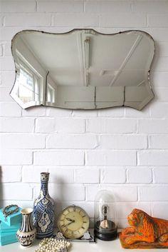 Vintage Wall Mirror Art Deco Beveled Shield Shape Bevelled