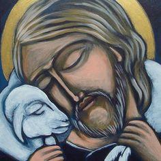 'Religious Canvas Painting of Jesus with a Lamb (Jezus z Barankiem)' Jesus Christ Painting, Jesus Art, St John's Bible, Bible Art, Pictures Of Christ, Religious Pictures, Catholic Priest, Catholic Art, Religious Paintings