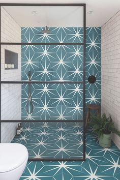 The Lily Pad collection from Ca' Pietra offers stunning patterned floor tiles and wall tiles to suit every modern and traditional home. Bad Inspiration, Bathroom Inspiration, Family Bathroom, Small Bathroom, Bathroom Ideas, Modern Bathroom, Wet Room Bathroom, Eclectic Bathroom, Washroom