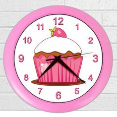 Pink Cupcakes Design Wall Clock Personalized