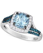Le Vian® Sea Blue Aquamarine® (1-1/4 ct. t.w.), Blueberry (1/6 ct. t.w.) and Vanilla (1/5 ct. t.w.) Diamonds Ring in 14k Vanilla Gold