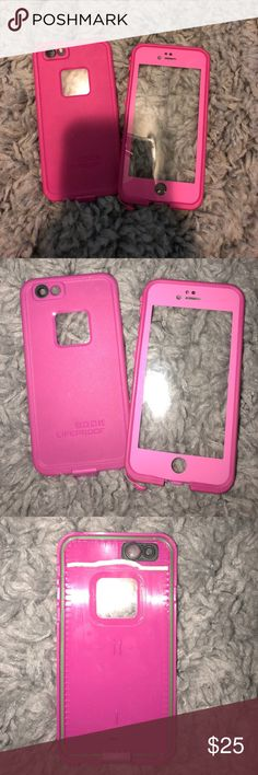 iPhone 6/6s LifeProof Case Hot pink. Barely used. Lining is a bit off but does not affect the fitting of the phone! LifeProof Accessories Phone Cases