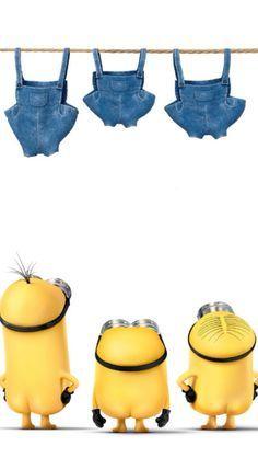 洗濯干し中のミニオンのイラスト