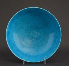 An Early 18th Century Biscuit-Porcelain Turquoise Shallow Bowl,Late Kangxi, Yongzheng or Early Qianlong c.1700-1750.