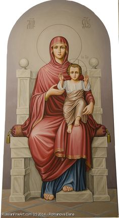 Mother Of God On The Throne - wood, egg tempera Russian Icons, Tempera, Catalog, Princess Zelda, God, Artwork, Fictional Characters, Religious Pictures, Dios
