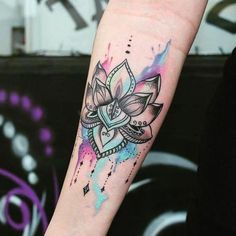 Colorful Lotus tattoo for hand #tattoo #LotusTattoo #Womentriangle #Tattoos