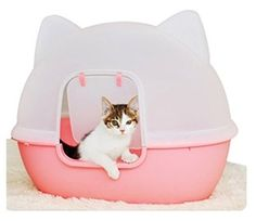 The kitty head litter box offers your cat privacy while lending fashion and cleanliness to your home. Available in pink or blue. The kitty head litter box will blend harmoniously with any home decor. Large Bird Cages, Kawaii, Pet Furniture, Cat Accessories, Small Cat, Pink Cat, Cat Supplies, Litter Box, Cat Toys