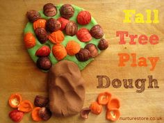 Autumn play dough recipe: trees with pasta leaves from NurtureStore