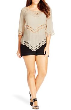 Free shipping and returns on City Chic Crochet Trim Top (Plus Size) at Nordstrom.com. Crochet trim with peekaboo sheerness adds a pretty touch to a flirty top cut from a lightweight slubbed fabric with a nearly-off-the-shoulder neckline and a pointed hemline.