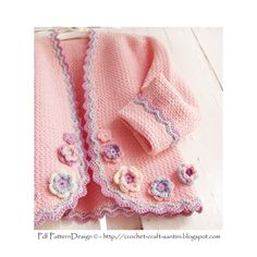 Pink Jacket with flowers for little Girls - Crochet Pattern - Instant Download by PdfPatternDesign on Etsy https://www.etsy.com/listing/83783709/pink-jacket-with-flowers-for-little