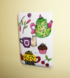 Kitchen Tea Pots steel single lightswitch by MoanasUniqueDesigns,