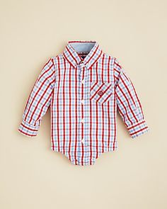 Andy & Evan Infant Boys' Gingham Button Down Bodysuit - Sizes 3-18 Months | Bloomingdale's