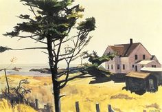 "urgetocreate: "" Edward Hopper, Bill Latham's House, 1927, watercolor, 35.6 x 50.8 cm. """