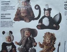 Halloween Costume Pattern/Vintage McCall's Costumes 7169 Toddler Size 1 Chest 20 inch/ skunk, lion, monkey, elephant, panda/ Uncut